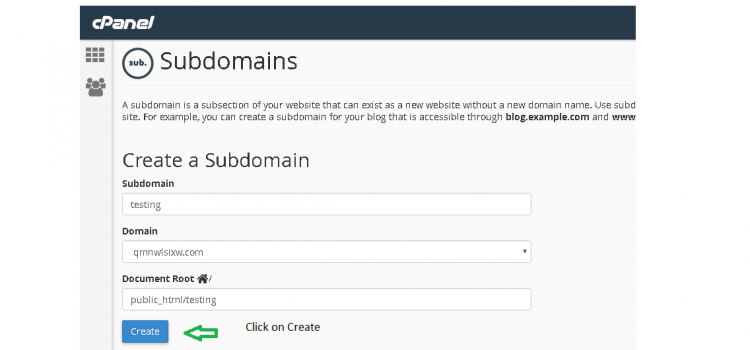 Give your domain name and Click on create