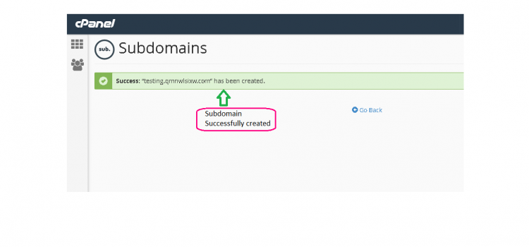 Subdomain created page
