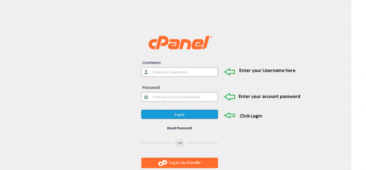 Login page of Cpanel